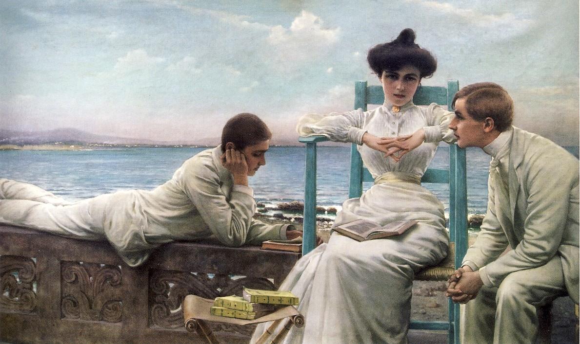 V. CORCOS, In lettura sul mare, 1910 ca., olio su tela, cm 130 x 228, collezione privata
