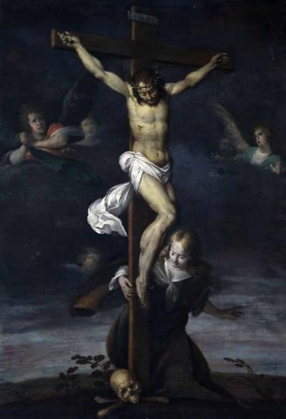 Ermanno Stroiffi (attribuito), Santa Maria Maddalena ai piedi di Gesù Cristo crocifisso, secondo quarto sec. XVII