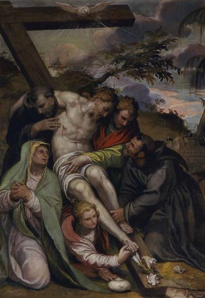 Paolo Farinati, Gesù Cristo deposto dalla croce con la Madonna, San Giovanni Evangelista, Santa Maria Maddalena, San Francesco d'Assisi e Sant'Antonio da Padova, 1589
