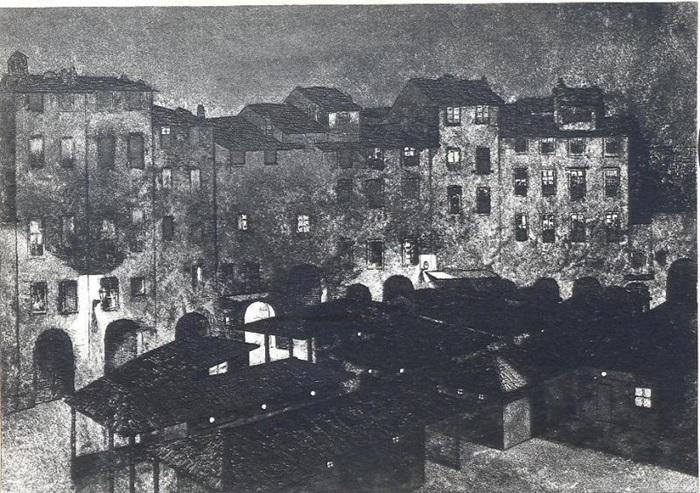Umberto Prencipe, Mercato di notte 1915 acquaforte e acquatinta su carta mm 302 x 424; 350 x 500 Lucca, Fondazione Ragghianti