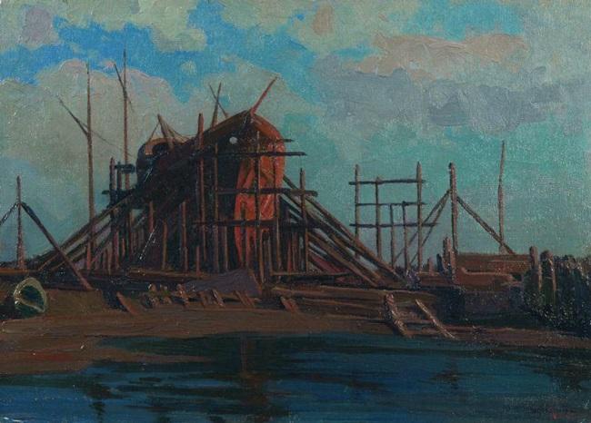 Umberto Prencipe, Barca in costruzione a Forte dei Marmi 1920 olio su tela su tavola cm 20,8 x 22,9 Roma, Galleria d'arte moderna di Roma Capitale Foto: ©Roma Capitale