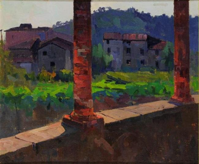 Umberto Prencipe, Sotto la pergola 1919 olio su cartone telato cm. 37,5 x 44 Molina di Quosa (Pisa), Collezione Studiati Berni