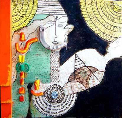 Francesca Licari, Tenerezza, tecnica mista su legno, pirografia, argilla e ferro, cm 60x70, 1998