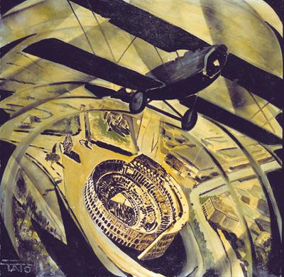 TATO, Sorvolando in spirale il Colosseo (Spiralata), 1930 Olio su tela; 80x80 cm