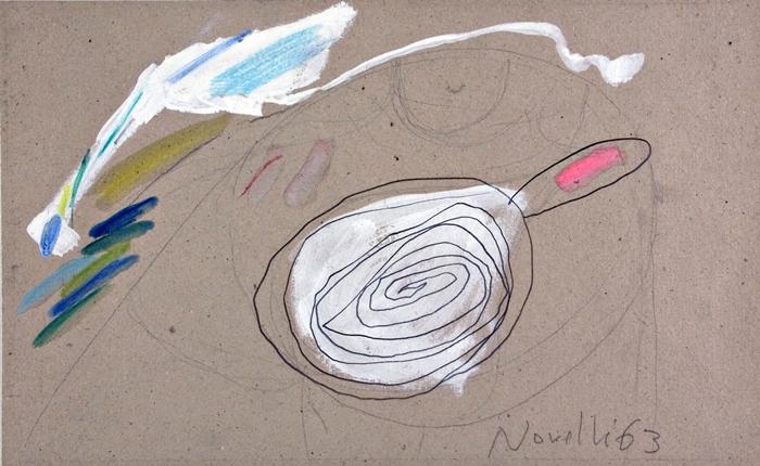Gastone Novelli, Senza titolo, 1963 Matita, pastello e tempera su cartoncino © Gastone Novelli, Raccolta del disegno, Galleria civica di Modena