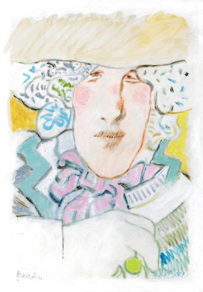 Tullio Pericoli, Oscar Wilde, 2014, olio su cartone, cm 42x29,5