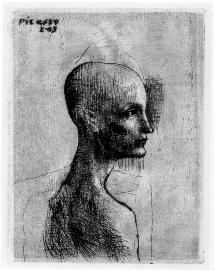 Buste d'homme, 1905, puntasecca, mm 120x93