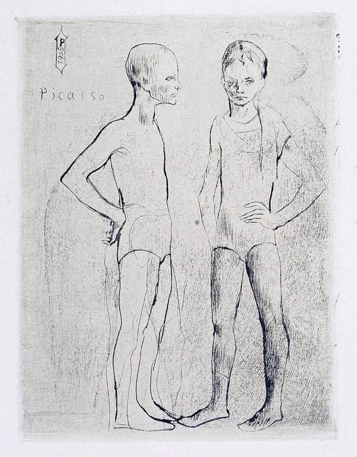 Les deux saltimbanques, 1905, puntasecca, mm 122x91