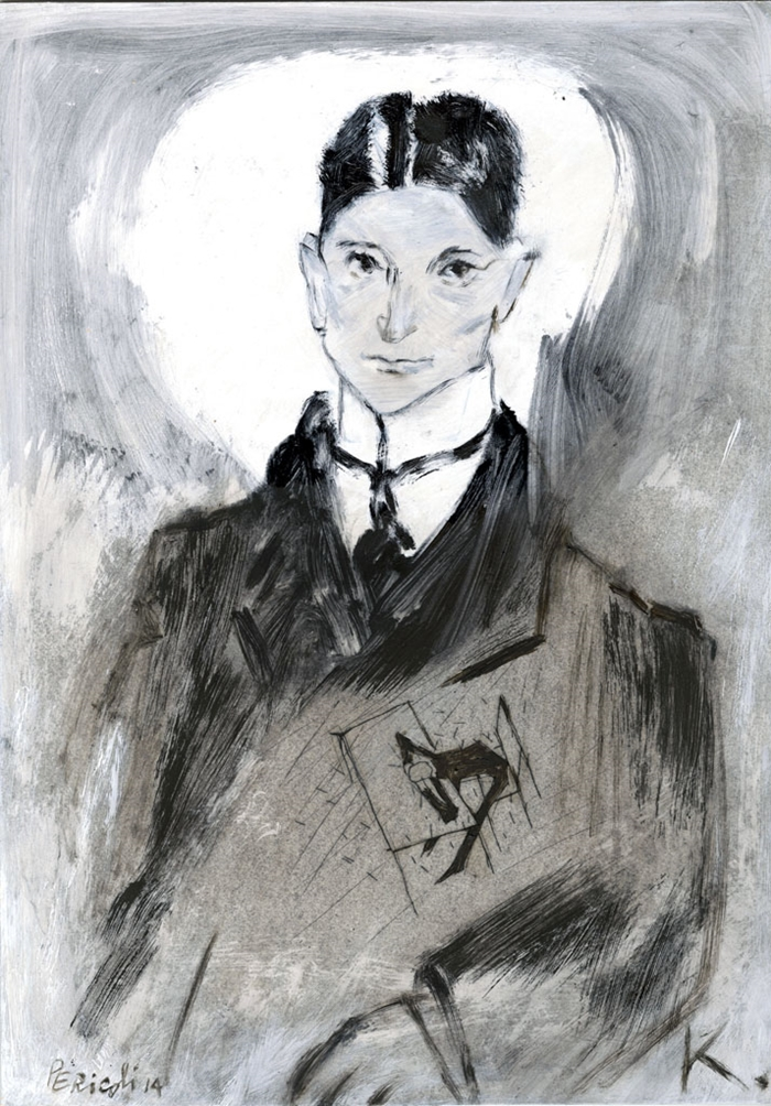 Tullio Pericoli, Franz Kafka, 2014, olio su cartone, cm 42x29,5