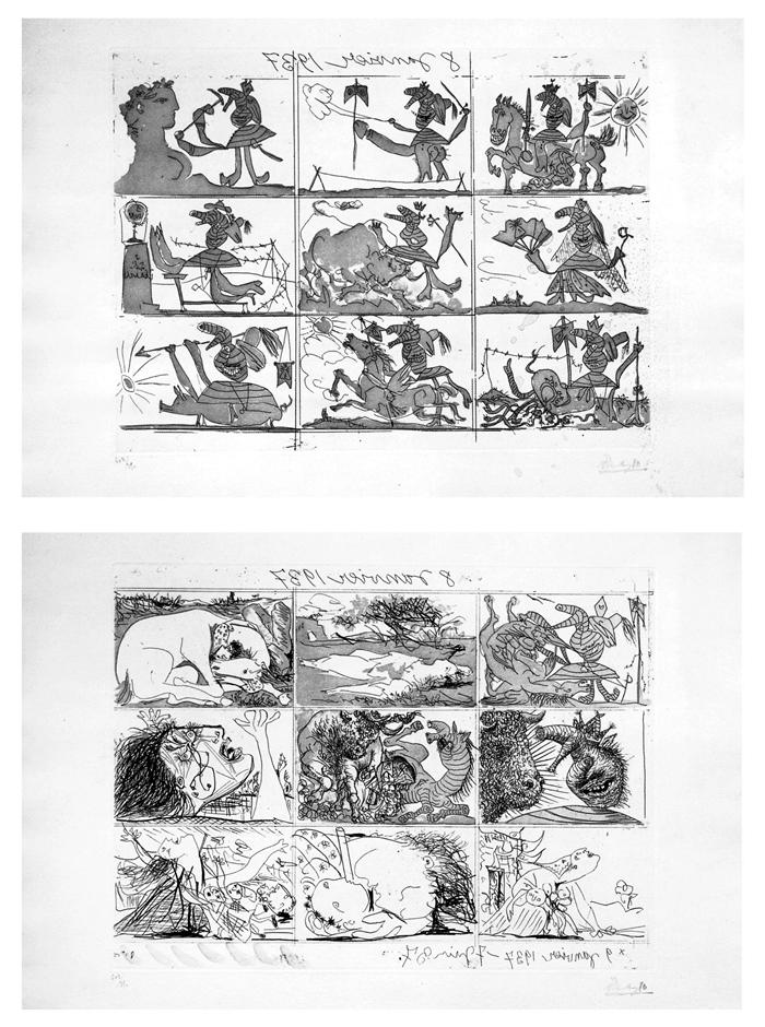 Sueno y mentira de Franco, 1937, 2 acqueforti e acquatinte, mm 317x422