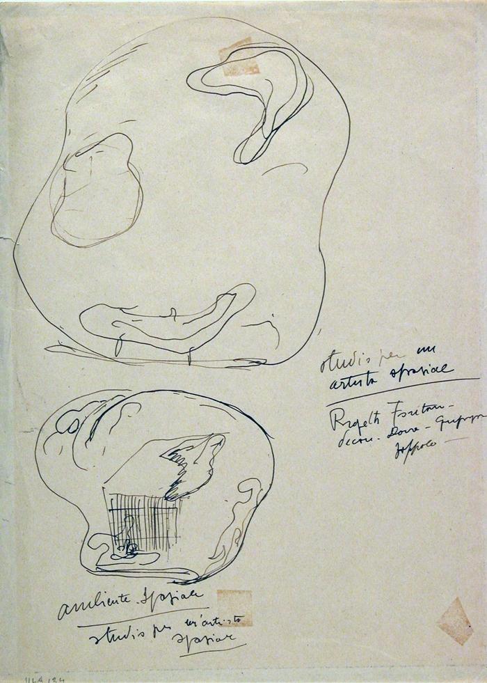 Lucio Fontana, Studio per un artista spaziale- ambiente spaziale, 1949 ca. inchiostro su carta © Lucio Fontana Raccolta del disegno, Galleria civica di Modena