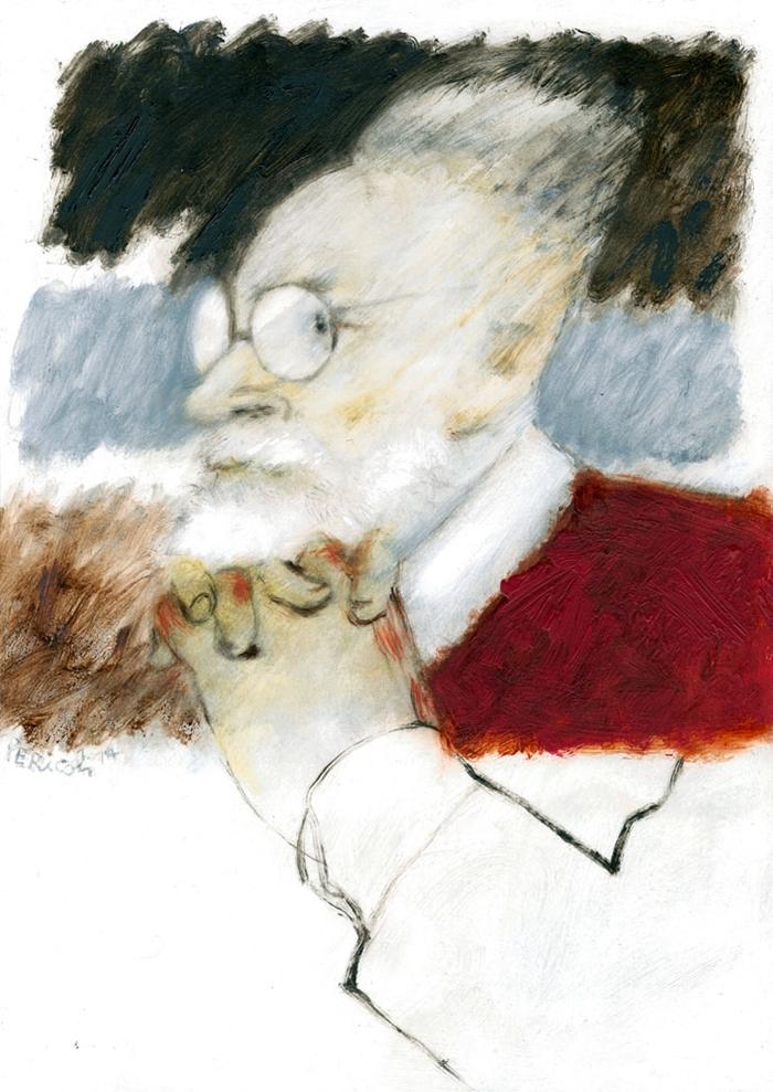 Tullio Pericoli, Primo Levi, 2014, olio su cartone, cm 42x29,5