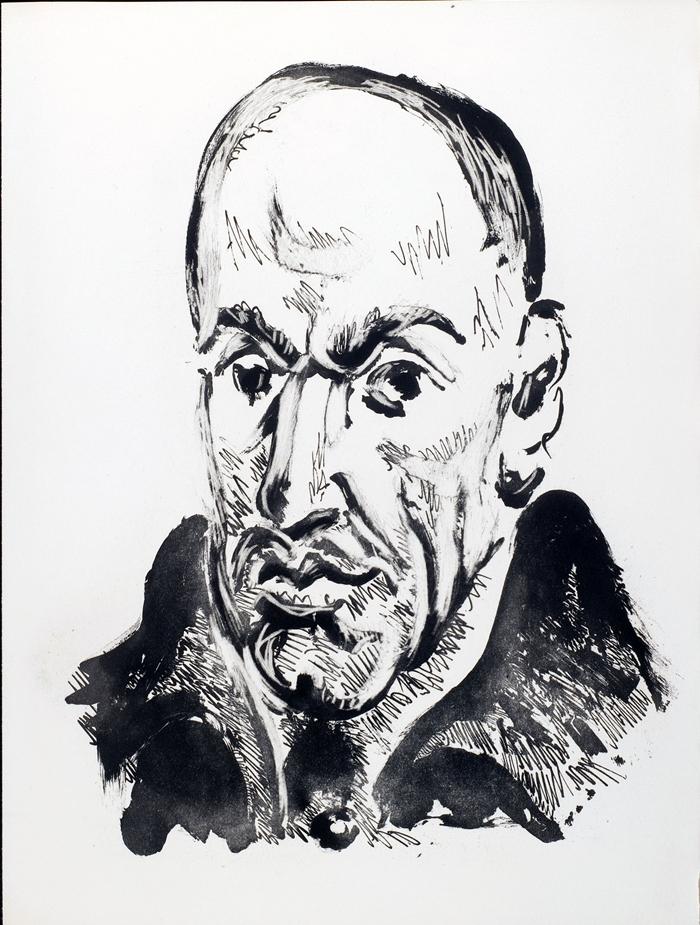 Da Vingt poèms de Gòngora, 1948, Portrait de Gòngora, d'apres Velazquez, acquatinta allo zucchero