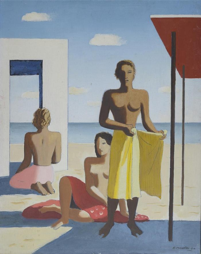 Ruggero Alfredo Michahelles: Due donne e figura di spalle, 1934, n. 62, olio su tavola, cm 40x50