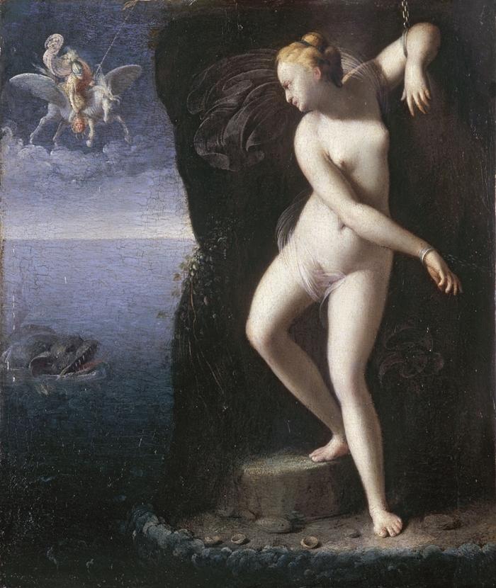 Carlo Saraceni (Venezia, 1579 circa-1620) Andromeda incatenata liberata da Perseo 1600-1605 circa olio su tavola, cm. 26,5x22,5 Digione, Musèe des beaux Arts