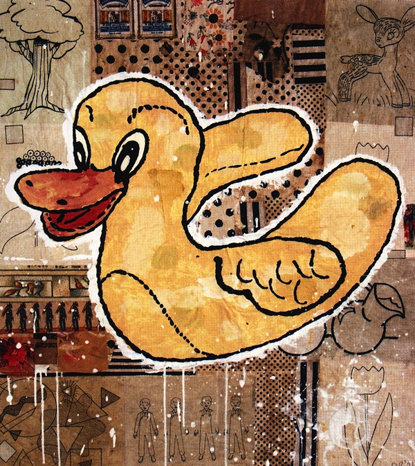 Donald Baechler, Wicked messenger, 2001, gouache e collage su carta, 100x90 cm