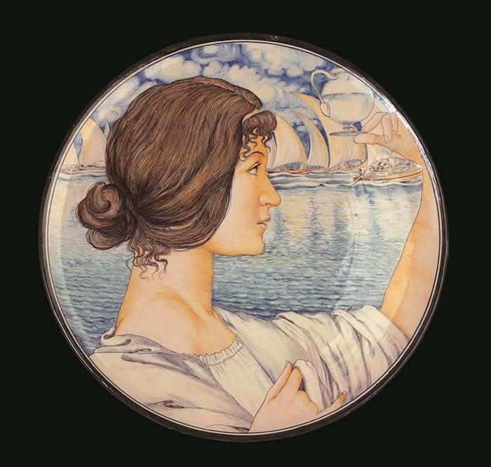 Galileo Chini, Piatto con profilo femminile, 1898-1900, per la manifattura Arte della Ceramica, Firenze