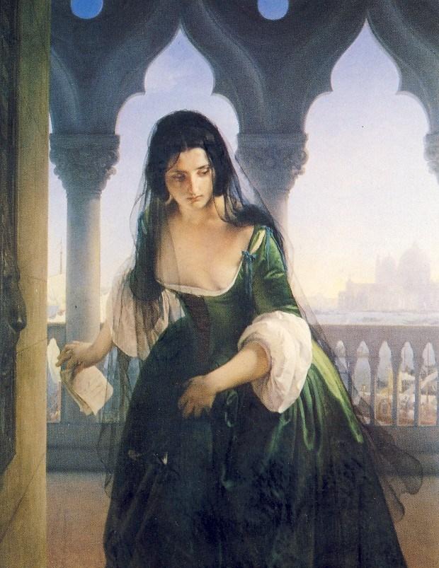 F.HAYEZ, Accusa segreta, 1847-1848, olio su tela, cm 153 x 120, Pavia, Musei Civici del castello Visconteo