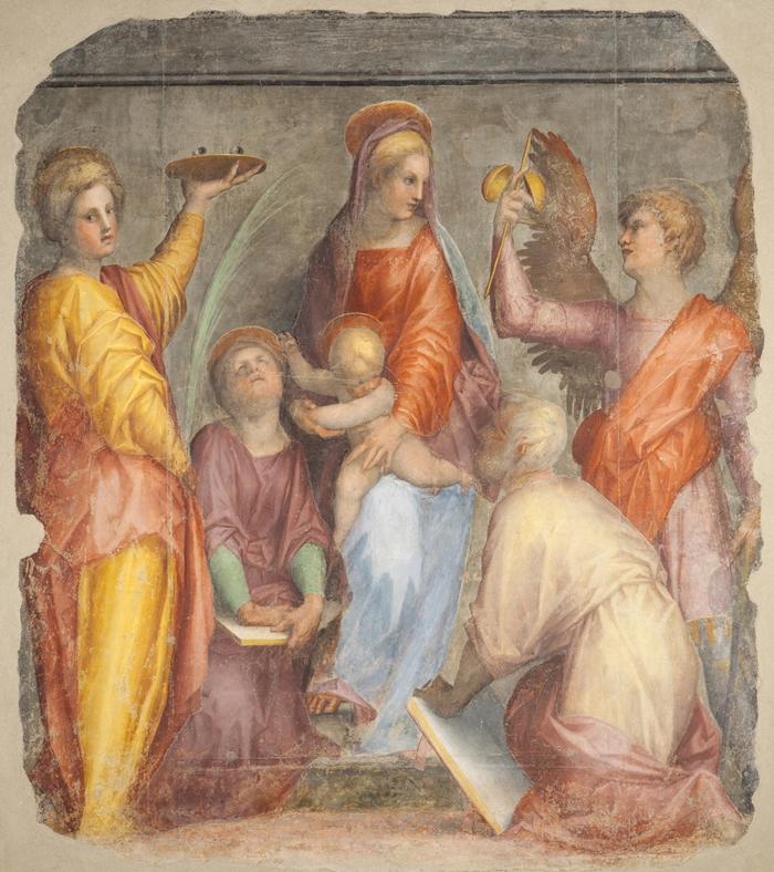 Pontormo (Jacopo Carucci) (Pontorme, Empoli 1494-Firenze 1557) Sacra conversazione (Madonna di San Ruffillo)  1514 affresco staccato cm 223 x 196 Firenze, Convento della Santissima Annunziata, Cappella di San Luca