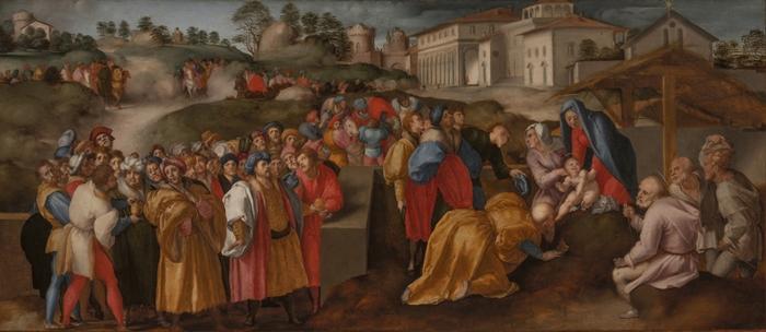 Pontormo (Jacopo Carucci) (Pontorme, Empoli 1494-Firenze 1557) Adorazione dei magi (Epifania Benintendi)  1519-1520 olio su tavola cm 85 x 191 Firenze, Palazzo Pitti, Galleria Palatina, inv. Pal. n. 379