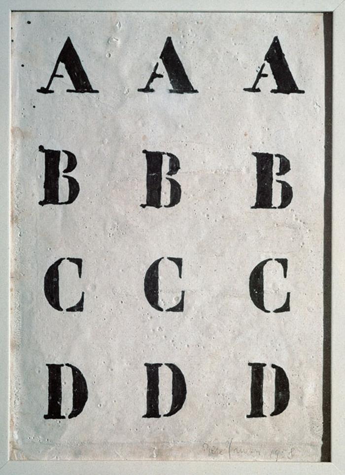 Alfabeto, 1958 inchiostro e caolino su tela, 25x18 cm Collezione privata