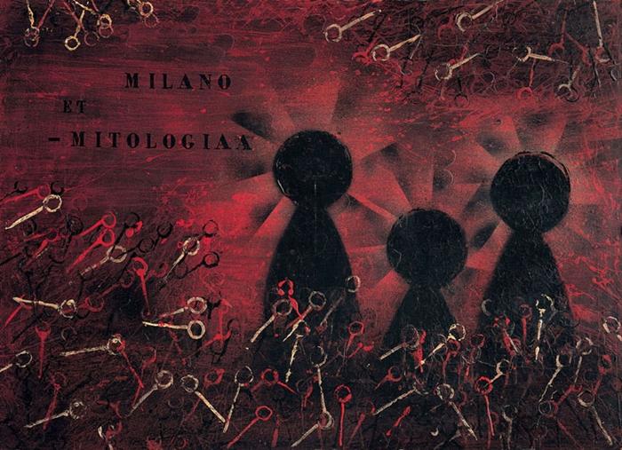 Milano et - Mitologia, 1956 olio e cera su tavola, 95x130 cm Collezione privata