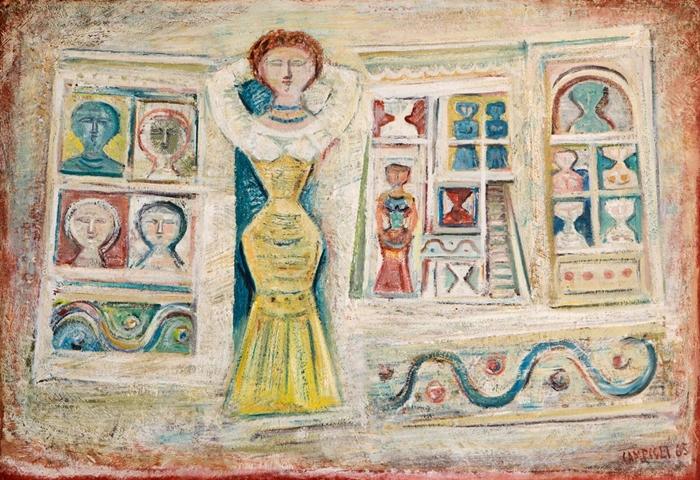 Massimo Campigli: Donna e casa, 1965, olio su tela, 100 x 147 cm