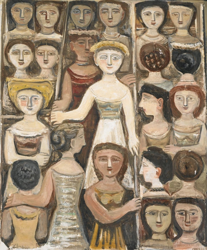 Massimo Campigli: Femmes dans le metro, 1952, olio su tela, 144,5 x 113 cm.