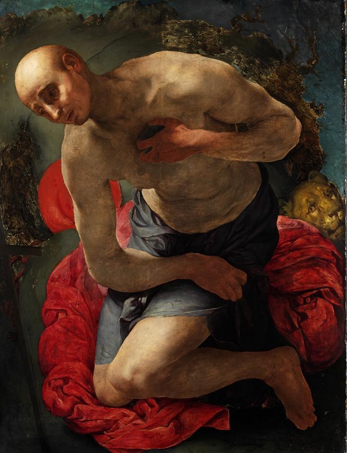 Pontormo (Jacopo Carucci) (Pontorme, Empoli 1494-Firenze 1557) San Gerolamo penitente  1529-1530 circa olio su tavola cm 105 x 80 (cm 126,5 x 101 con cornice) Hannover, Niedersächsisches Landesmuseum Hannover, inv. KM 132