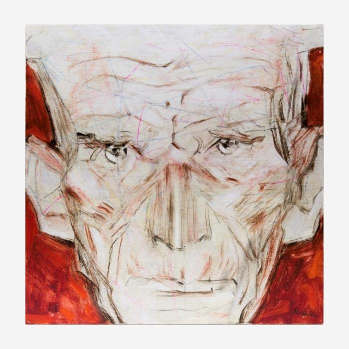 Tullio Pericoli, Samuel Beckett, 2013, olio su tavola, cm 40x40