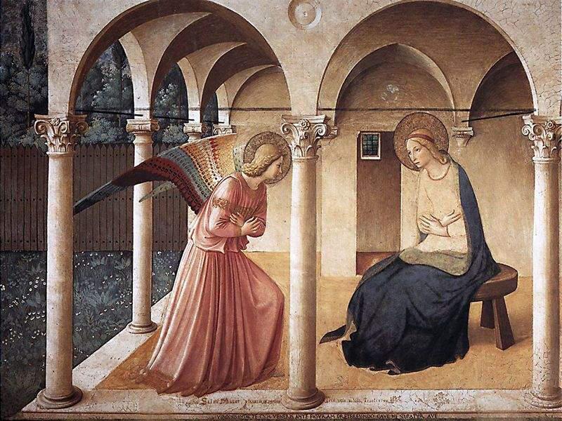 L'annunciazione del Convento di San Marco, opera dell'Anelico, realizzata nel corridoio nord. L'opera, durante la mattina del 25 marzo, viene completamente colpita dal sole, con un effetto di annichilimento della pittura. Un effetto che parrebbe studiato e voluto dall'autore