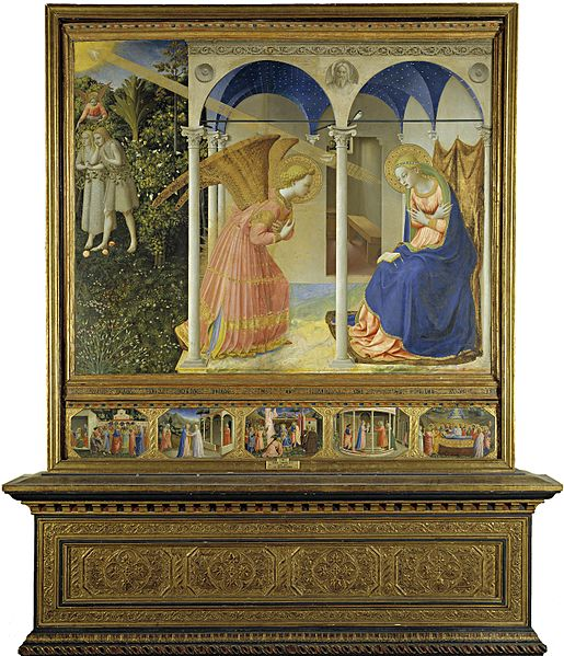 'Annunciazione di Beato Angelico - oggi conservata al Prado - nella quale la fonte luminosa viene creata all'interno del dipinto, con sole e raggi, a differenza del successivo affresco che conta su elementi luministici esterni all'opera