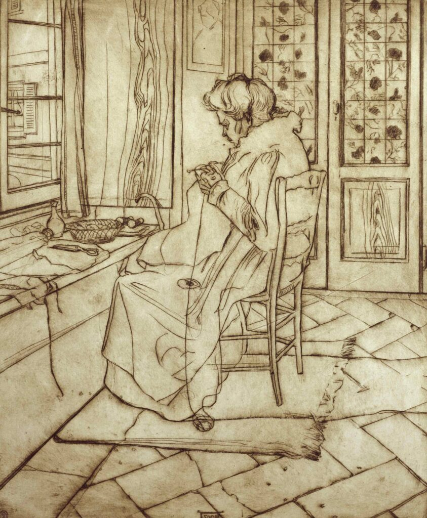 Umberto Boccioni, La madre che lavora all'uncinetto, 1907