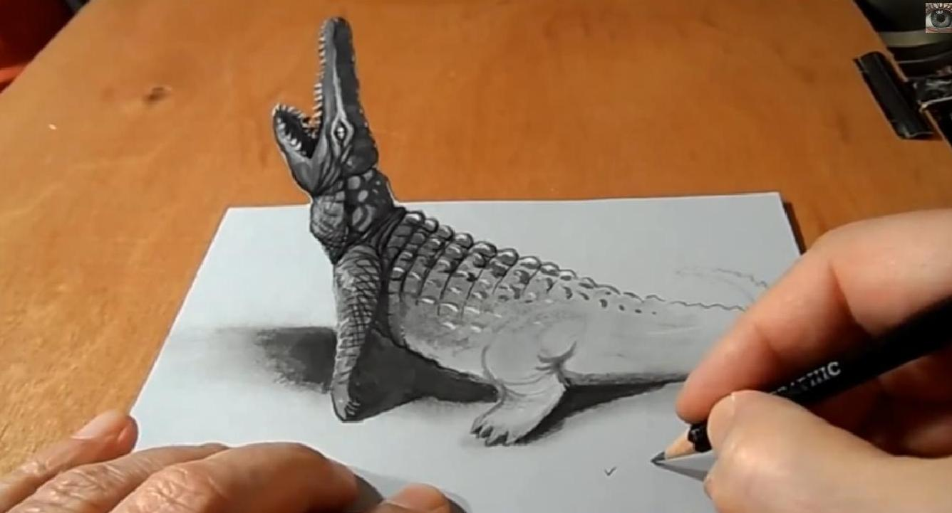 Assez Come disegnare un impressionante coccodrillo tridimensionale  OT41