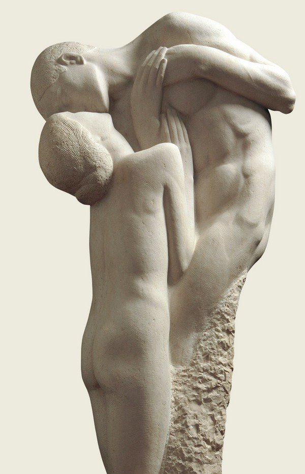 Giovanni Prini, Gli amanti, 1909-1913, marmo. h. cm 180.Roma. Galleria d'arte moderna di Roma capitale