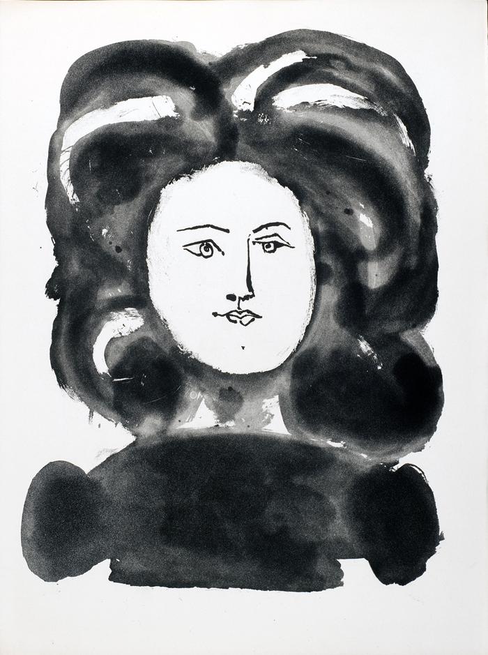 Da Vingt poèms de Gòngora, 1948, Femme à la fraise, de profil, acquatinta allo zucchero, acquaforte