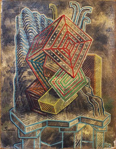 Alberto Savinio, Les graces insulaires, 1928, Olio su tela, cm 35x27