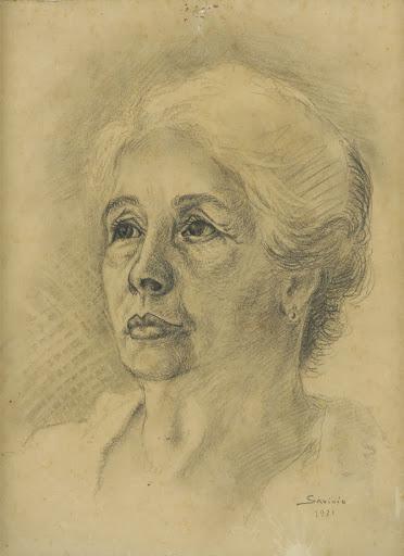 Alberto Savinio, Ritratto di Vincenza Morino, 1931, matita su carta, cm32x 24,5