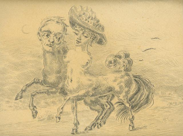 Alberto Savinio, Promenade, 1947, matita su carta, cm 25,5x33,5