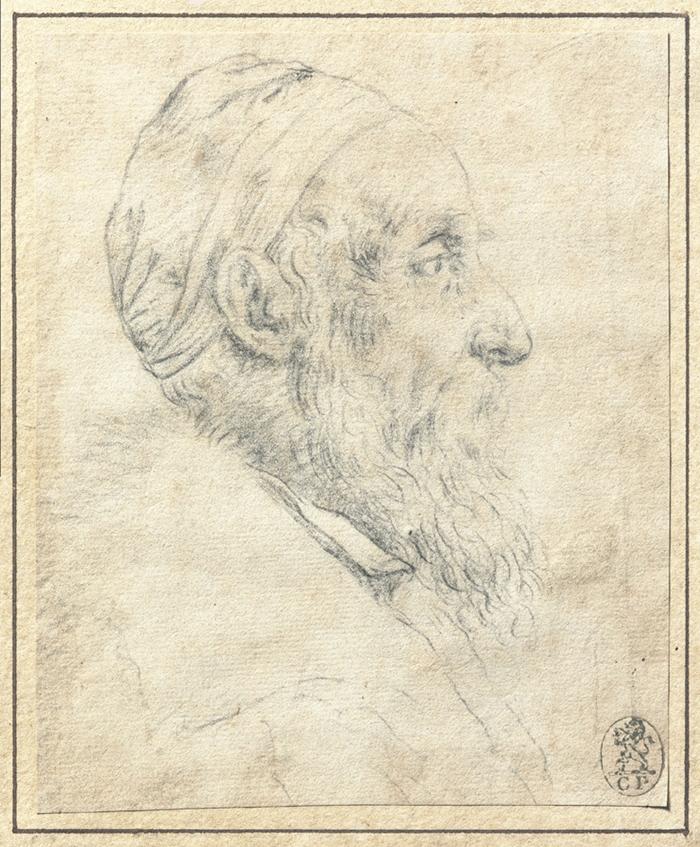 Tiziano Vecellio (Pieve di Cadore, 1495 ca. - Venezia 1576) Autoritratto, 1570 ca. Gessetto nero su carta avorio, 120 x 99 mm Collezione privata, Usa