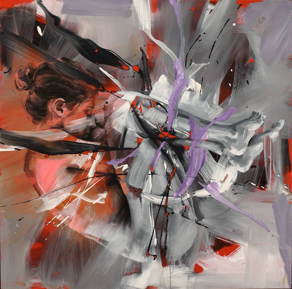 Pier Toffoletti, Bodysplash, cm 110x111, olio e acrilico su tela, 2014