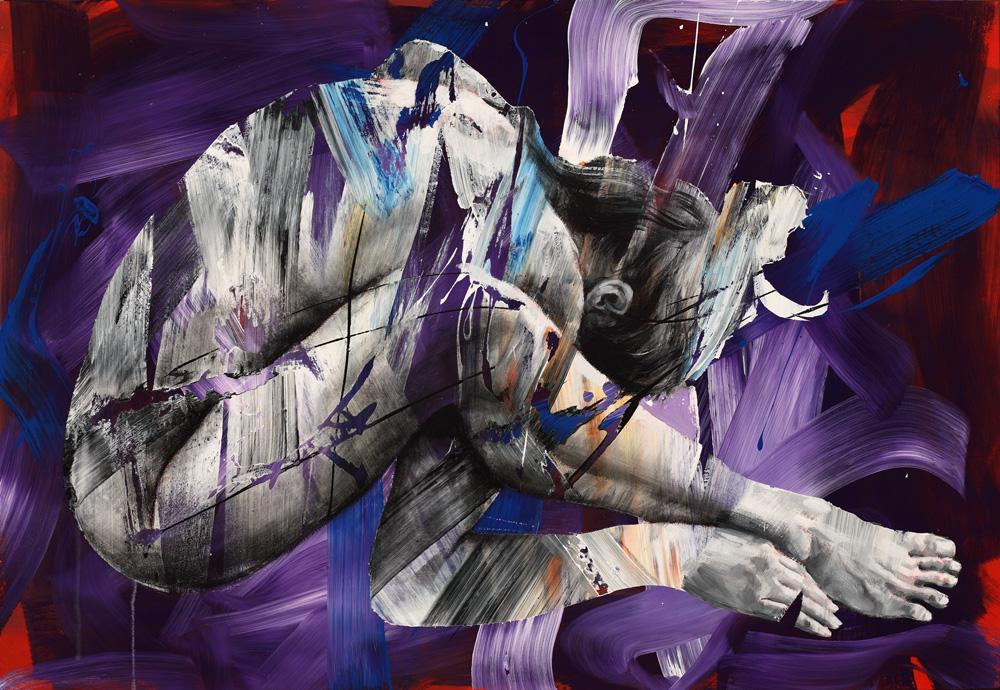 Pier Toffoletti, Bodysplash, cm 76X111, olio e acrilico su tela, 2014