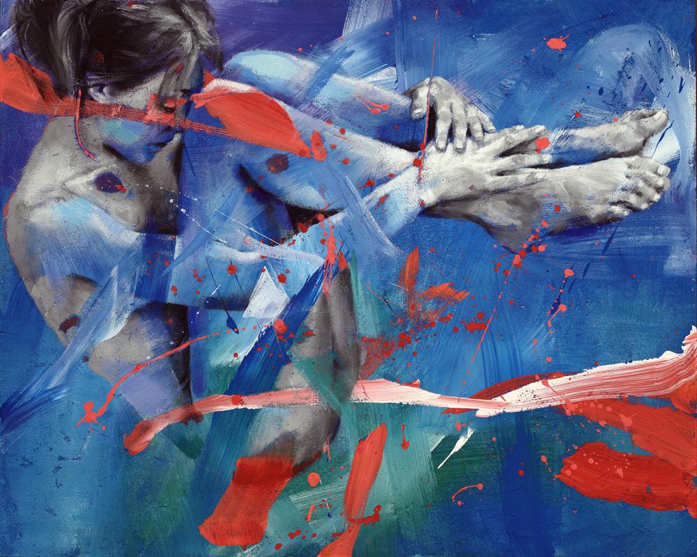 Pier Toffoletti, Bodysplash, cm 80x110, olio e acrilico su tela, 2014