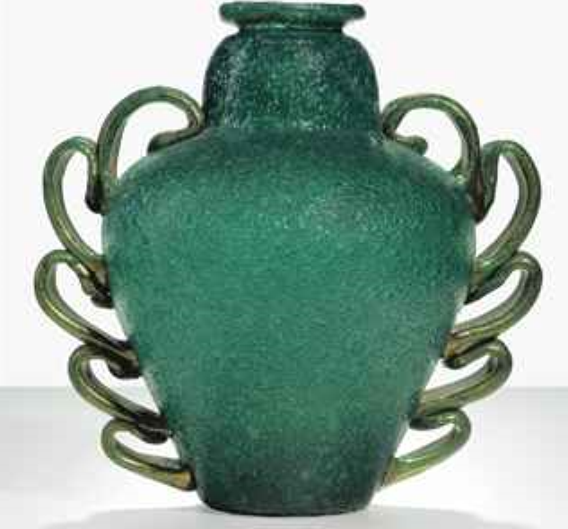 NAPOLEONE MARTINUZZI (1892-1977) FOR VENINI AN IMPORTANT PULEGOSO VASE, MODEL 3273, CIRCA 1928 blown bubble glass with applied details, covered with burst gold foil 13 in. (33 cm.) high unmarked