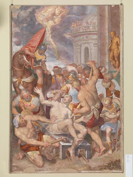 AurelioLuini MartiriodiSanVincenzo 1585‐1587 affrescoriportatosuvetroresina,cm347x239 Milano,Museod'ArteAnticadelCastello Sforzesco,Pinacoteca,inv.441(daSanVincenzino alleMonache)