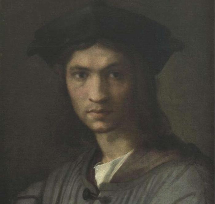 Scuola di Andrea del Sarto, Ritratto di Bandinelli giovane, 1515-1516, olio su tela,  Firenze, Galleria degli Uffizi