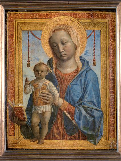 VincenzoFoppa MadonnaconilBambino(Madonnadellibro) 1475circa tavola,cm37,5x29,6 Milano,Museod'ArteAnticadelCastello Sforzesco,inv.305