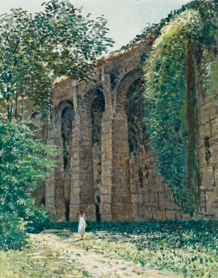 Giovanni Colacicchi, Gli Arcazzi alla mura di Anagni, 1982, olio su tela, 100 x 80. Collezione privata.