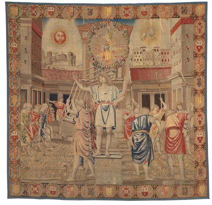 Benedetto da Milano con collaboratori, su cartonedelBramantino Luglio 1504circa‐1509(sucartonerealizzatoapartiredal 1501) lanaeseta,cm462x494 Milano,CastelloSforzesco,CivicheRaccolted'Arte Applicata,inv.34
