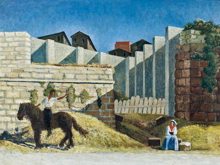 Giovanni Colacicchi, Cavalleria rusticana sotto le mura di Anagni, 1931, olio su tela, 74 x 100. Collezione privata.